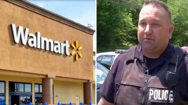 Father having trouble with cashier at Wal-mart glances up to see officer running toward him