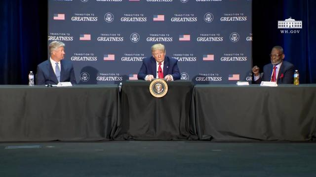President Trump participates in a roundtable on transition to greatness