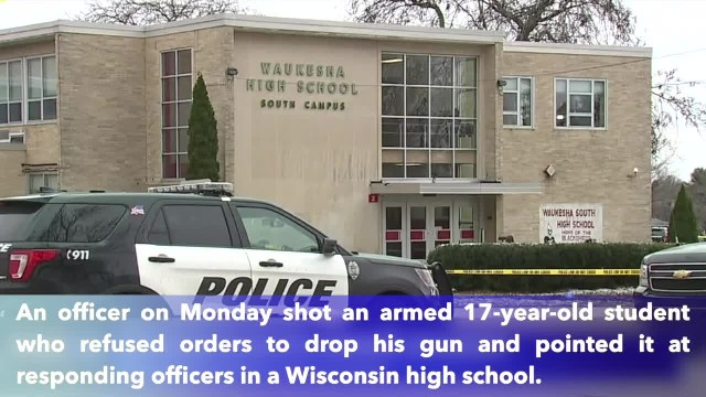 Officer shoots armed student in Wisconsin school