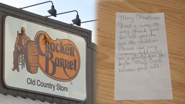 Teacher dining with special needs students at cracker barrel receives note all 22 meals paid for