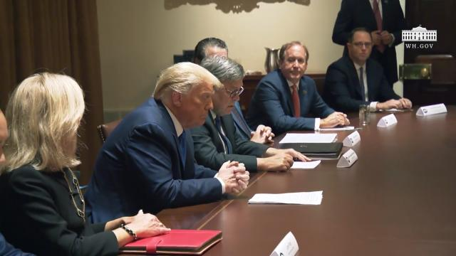 President Trump participates in a discussion with state attorneys general on protecting consumers
