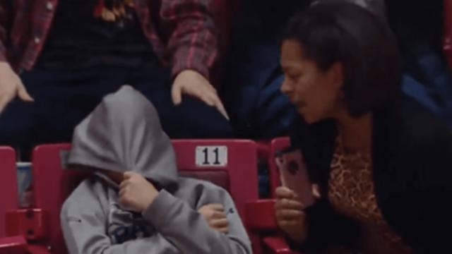 Mom gets on the Jumbotron and embarrasses her son with amazing performance