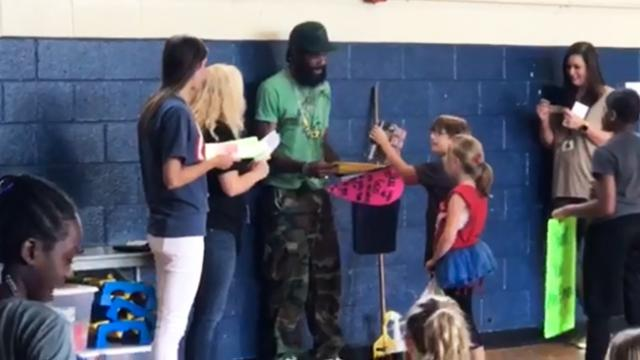 A custodian was given the biggest surprise of his life at the school he works