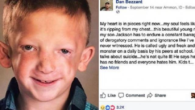 7-year-old boy is branded a 'monster' before dad teaches his bullies a lesson with Facebook post