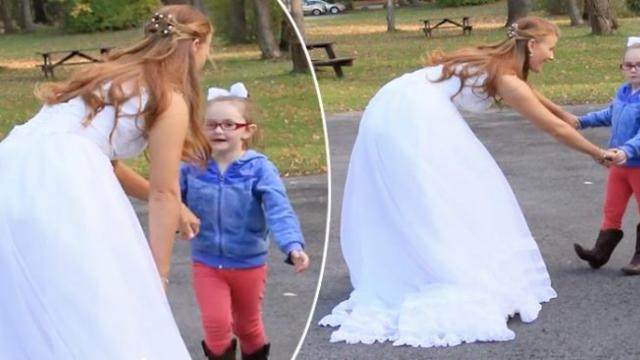 Girl with autism thinks bride is Cinderella and runs towards her