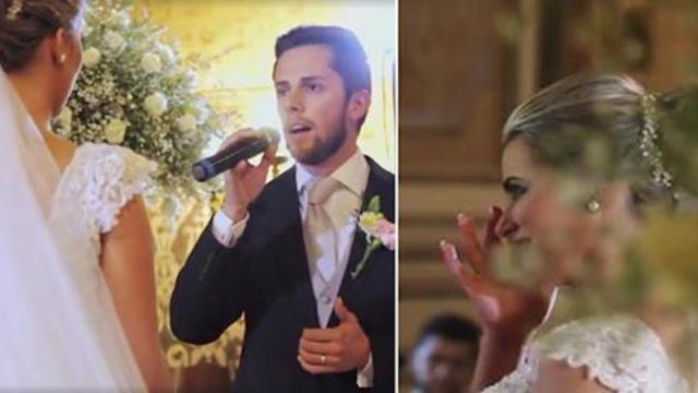 Portuguese groom's interpretation of Hallelujah gives the whole