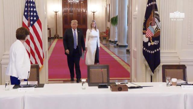 President Trump delivers remarks at the american workforce policy advisory board meeting