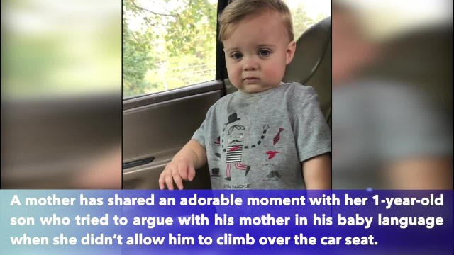 "Adorable moment 1-year-old tries to argue with his mother in his baby language when she says ""No"""