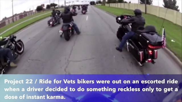 Impatient driver gets instant karma after cutting off motorcycle-riding veterans
