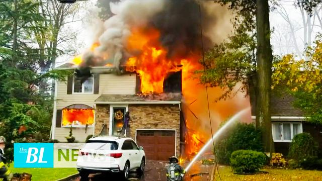 Houses ablaze after plane crashes in New Jersey