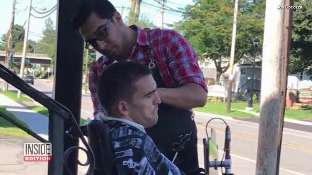 Man In Wheelchair Couldn't Access Barbershop. So, Barber Cut His Hair Outside.