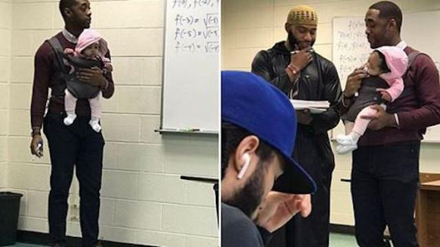 Professor holds student's baby during class because he couldn't get a sitter