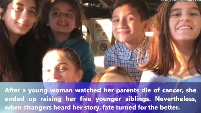 20-Year-Old is raising 5 siblings after parents died – now police have surprised her with a car