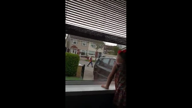 The bin men found out their biggest fan watched them every week so they dropped in with a gift