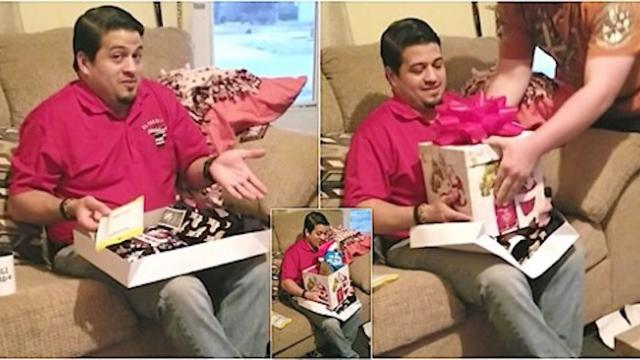 Confused guy opens corgi-themed gift before man places box with puppy inside on his lap