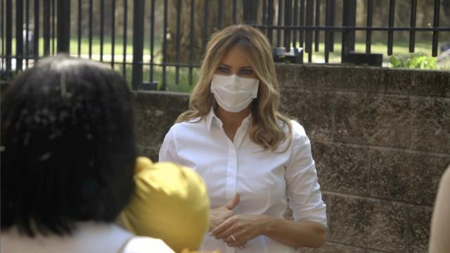 First Lady Melania Trump visits the Mary Elizabeth house