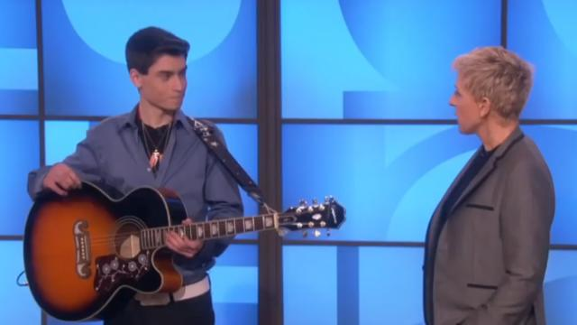 Ellen proves Elvis still lives when this teen plays the guitar