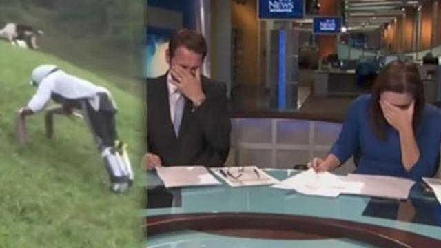 News anchors can't control laughter while broadcasting goat man story on Live TV