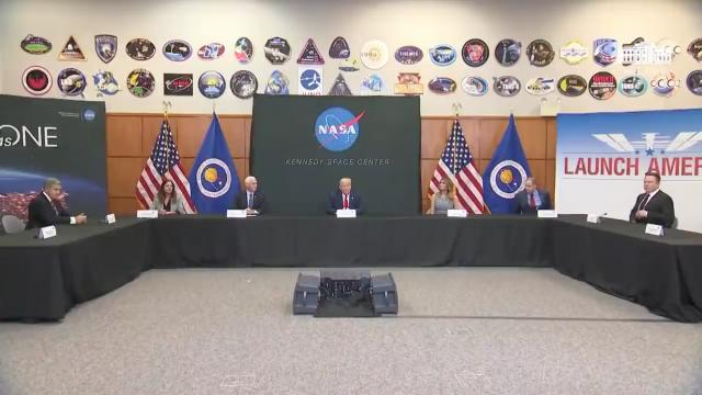 President Trump receives a Spacex demonstration mission 2 launch briefing