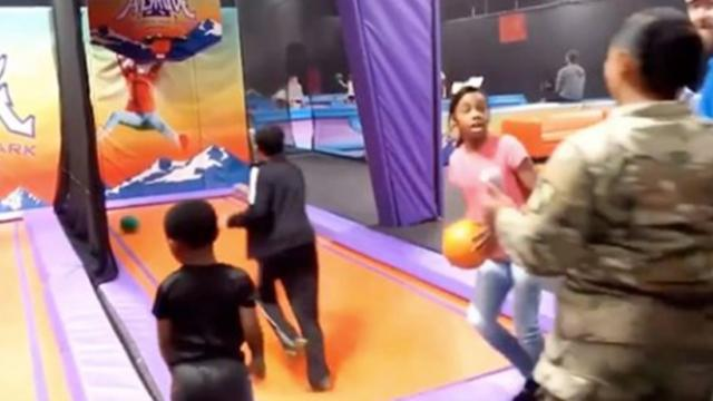 Army mom's kids literally jump for joy when she surprises them at Trampoline Park