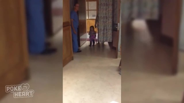 Tiny girl cautiously enters hospital room losing her mind upon sight of new baby in mom's arms