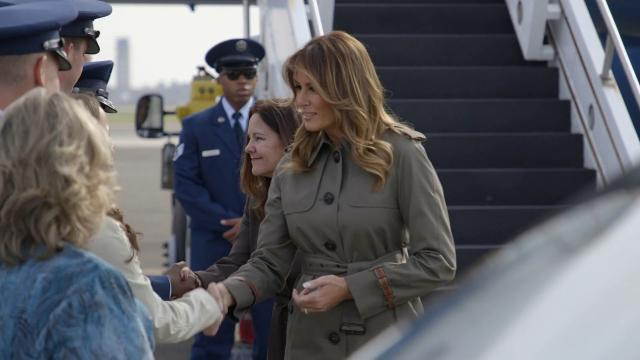 First Lady Melania Trump Visits Joint Base Charleston in South Carolina