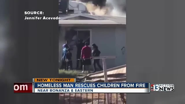 Homeless hero bravely rescues 2 children from raging fire