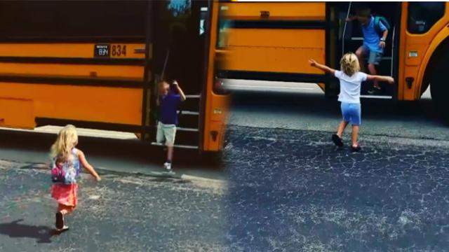 Cute girl runs to hug her big brother every single time the school bus drops him off