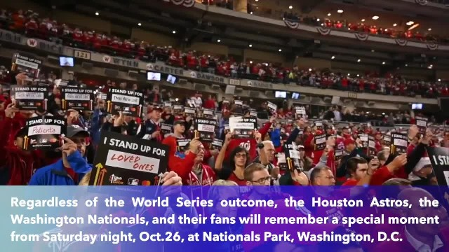 What a moment- Fans, players stand up to cancer during World Series Game 4