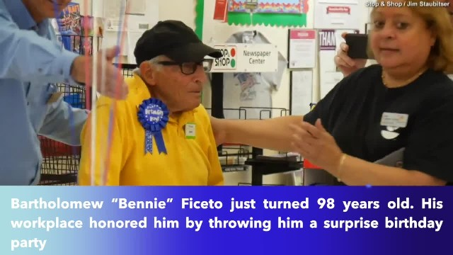 98-year-old World War II veteran who works as bag boy at grocery store gets surprise birthday party