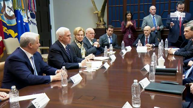 Vice President Pence participates in a coronavirus briefing with diagnostic lab CEOs