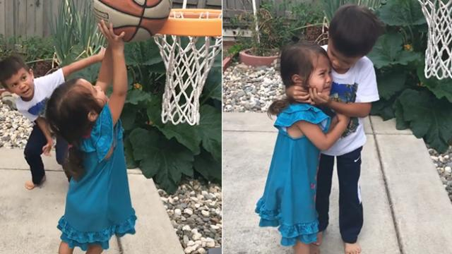 Best bro ever! This sweet boy comforts his crying sister, and we couldn't help but cry in happiness!
