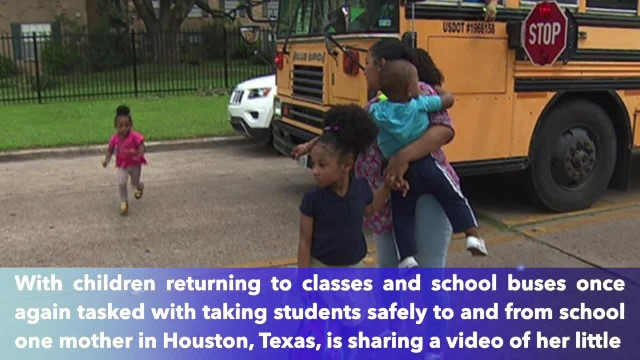 Mother in Houston, Texas, records driver nearly hitting her little girl after blowing past school bu