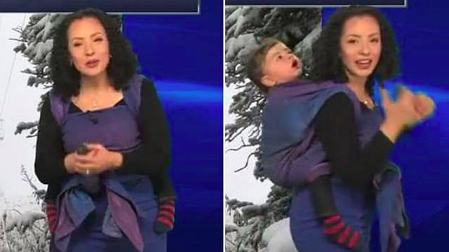 Meteorologist starts weather report and stuns viewers with sleepy guest worn on her back