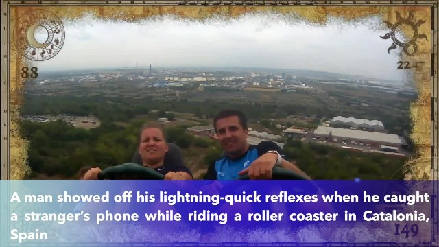 SEE IT- Guy makes legendary catch after rider loses their phone on a roller coaster