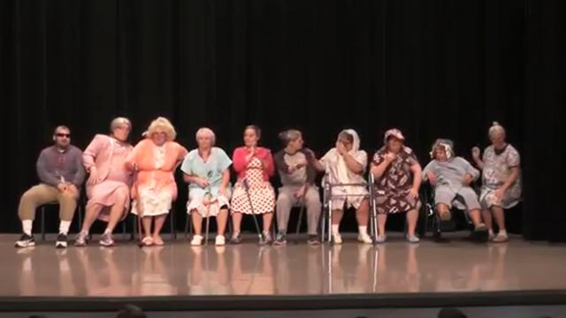 9 Grannies line up onstage but when grandpa on the end starts dancing everyone loses it