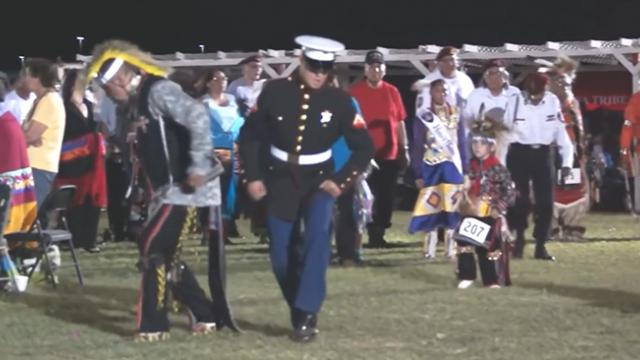 Native Americans honor marine at powwow. Marine returns the favor with moves no one saw coming