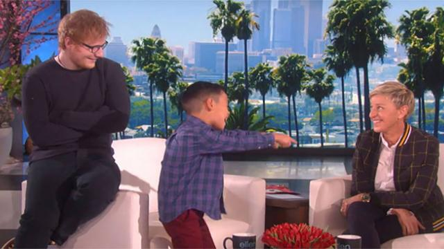 Boy sings Ed Sheeran song for Ellen and has no idea famous singer