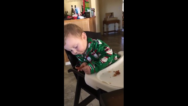 Daddy Gives Him Bacon For The 1st Time – His Response Had The Entire Family Cracking Up