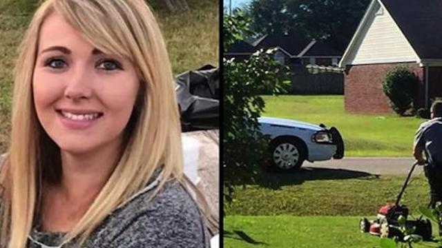 Mom mows the lawn wearing baby carrier - until a police car pulls up and her heart drops
