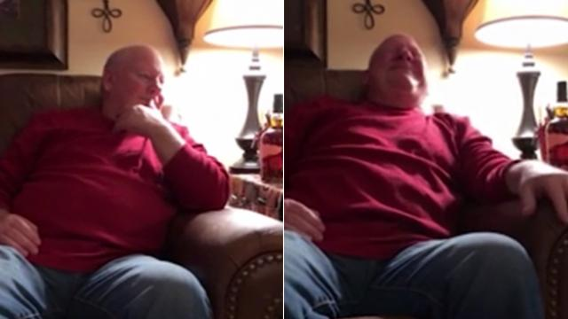Grandpa chokes up as granddaughter starts singing a song he wrote back in the 80's