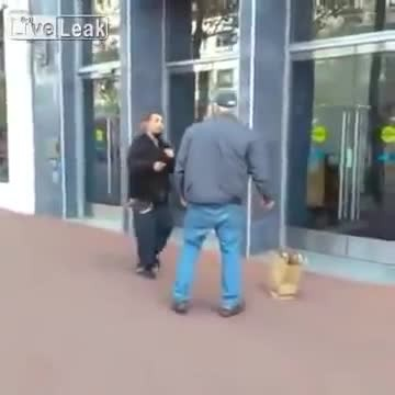 Saggy-pants thugs attacks elderly gentleman, gets brutal instant justice