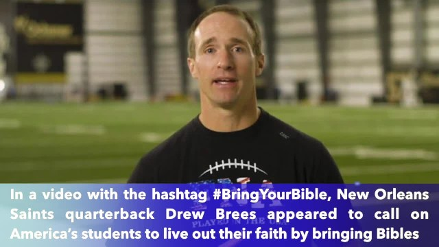 NFL Superstar Drew Brees bashed by news outlet for encouraging students to 'live out your faith,' br
