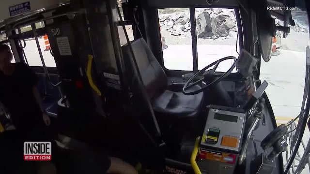 Bus driver jumps up to grab blind man, he's unaware that passengers record his every move