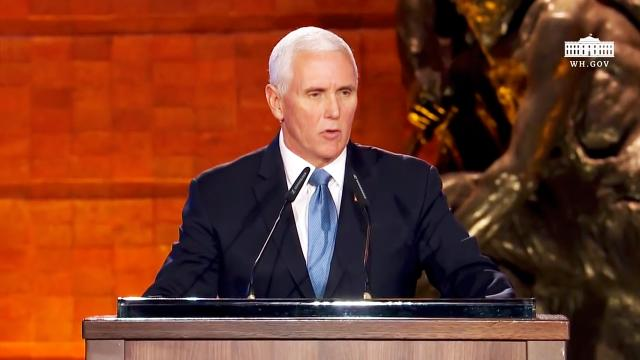 Vice President Pence delivers remarks at the fifth world holocaust forum