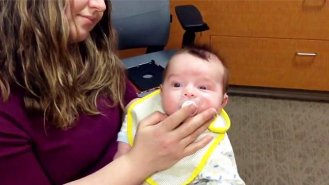 This baby hears mommy talk for the first time. His reaction brought tears to all