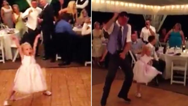 Flower girl dances at wedding reception, but crowd loses it when the song switches