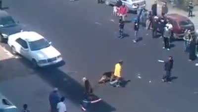Karma! RAGE Idiot Throws Brick At Dogs And Gets Justice DOG ATTACK!