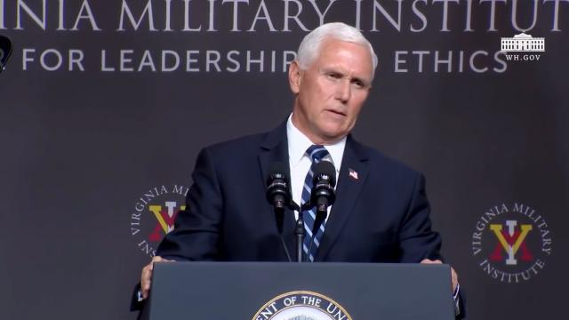 Vice President Pence addresses the VMI corps of cadets