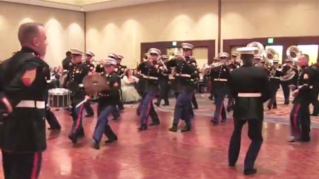 Marines take over the dance floor to perform 'thrift shop' and it's awesome!